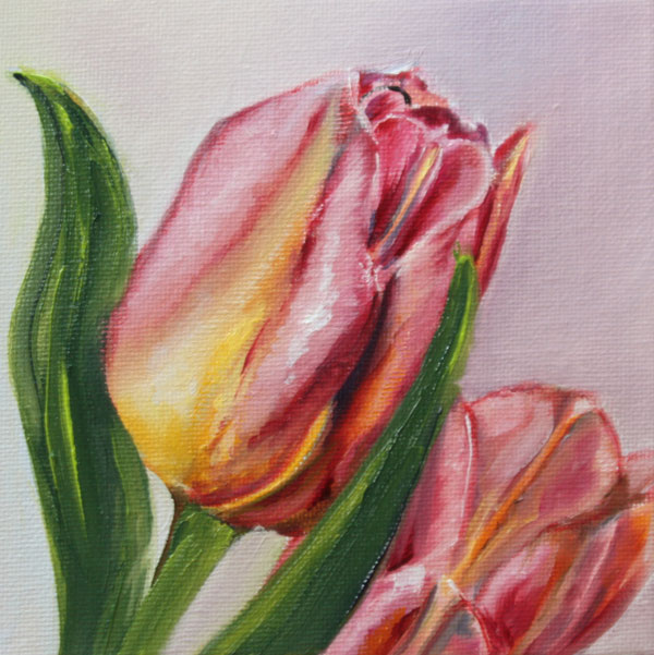 bild blumen tulpen original malerei kunst neu 15x15 100402 s schramm ebay. Black Bedroom Furniture Sets. Home Design Ideas
